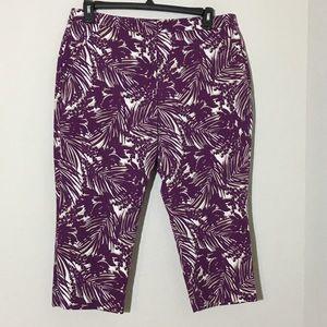 Lane Bryant Capri Pants Purple Leaf Print Sz 16